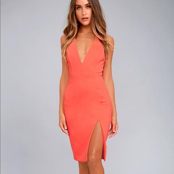 Neon Coral Midi Dress